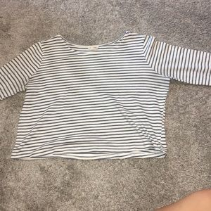 Blue and white striped, long sleeve, crop top